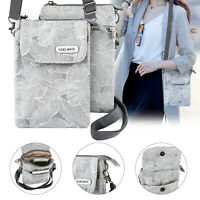 Cell Phone Pouch Purse Women Crossbody Shoulder Bag Wallet Canvas Handbag w/Belt