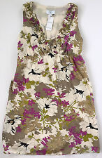 ANN TAYLOR LOFT Purple White Brown Floral Sleeveless NWT Dress Sz 0P Petite XS
