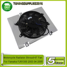 "Aluminum Motorcycle Radiator Shroud+9"" Fan For Yamaha FJR1300 2003 04 2005 AUS"