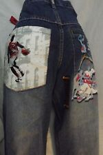 Mens Basketball Denim Jeans Artistic Embroidered Slam Dunk New 32x30