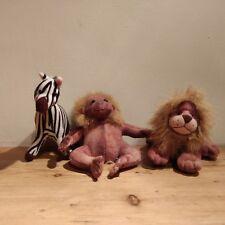 STUFFINS ANIMAL PLUSH TOY COLLECTION LION ZEBRA AND MONKEY VINTAGE 1995
