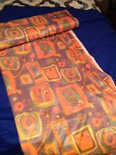 Vintage Mid Century Print Polyester Fabric 11 Yards Sewing Craft