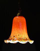 """Rare 1950s Art nouveau John Ditchfield """"L/E"""" handmade iridescent pendant light"""