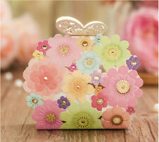 100pcs Laser Cut Butterfly Buckle Wedding Favor Candy Box Wedding Party Gift