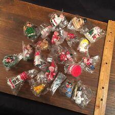 Vintage Christmas Ornament Lot (21) Wood Santa Angel Noel Bell PRIORITY MAIL