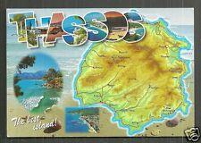 Map postcard Thasos Thassos Kavala Greece stamp