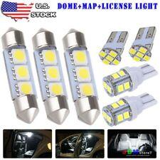 8x White LED Dome Map License Plate Light Bulbs Interior LED Package Kit For Car