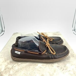 LL Bean Men 7 Handsewn Slippers Dark Brown Leather Flannel Lined Loafer FLAW