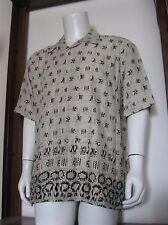 L Mens John Henry Short Sleeve Button Down Hawaiian Shirt Beige Geo large NWT