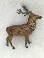 Large Vintage Putz Standing Metal Reindeer Deer Stag – Germany – Lead Antlers