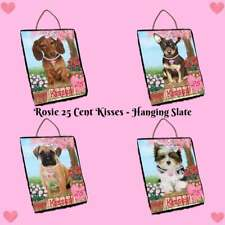 Rosie 25 Cent Kisses Dog Cat Hanging Slate, Pet Lovers Gift Home Wall Decor