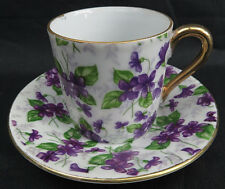 Vintage Tea Cup and Saucer Purple Violet Floral Pattern INARCO Golden Handle