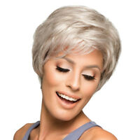 Human Hair Short Wig Silver Gray Fluffy Layered Hairpieces Heat Resistant