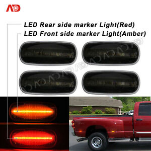 For 03-09 Dodge Ram 2500HD 3500HD Smoked LED Side Marker Light Fender Lamp 4pcs