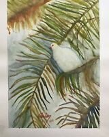 watercolor original art bird in palm tree