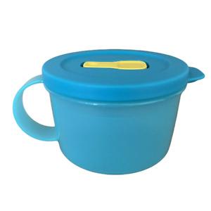 BLUE Tupperware Crystalwave Microwave 2 Cup Soup Bowl Stew Mug Work School