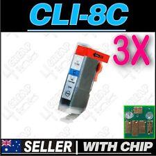 3x Cyan Ink for Canon CLI-8C iP5200 iP5200R iP5300 iP6600D iP6700D PRO9000