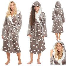 b80b867988 Ladies Girls Fleece Dressing Gown Matching Mother Daughter Hooded Grey Star  Robe