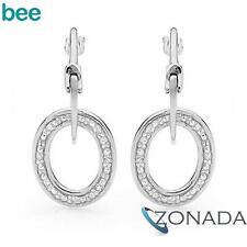 9k Solid White Gold Diamond Set Hoop Link Earrings W55152