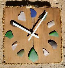 Beach Glass Nautical Themed Reclaimed Redwood Clock
