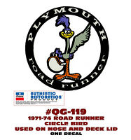 QG-119 1971-74 PLYMOUTH ROAD RUNNER CIRCLE BIRD - NOSE & DECK LID STICKER DECAL