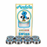 Andale Skateboard Bearings SWISS Blue Speed Model Set of 8