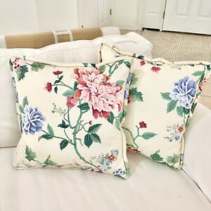"""Pair of Custom Chinese Peony Pillows 16"""" Chinoiserie Floral Chintz Cream Pink"""