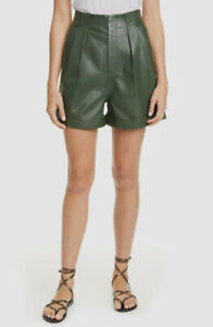 $957 Equipment Women's Green Bayde Leather High Waist Shorts pants Size 10