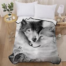 3D Couple Wolf Velvet Plush Throw Blanket Sherpa Bedding Thin Quilt 60''×80''