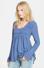 159621 New $97 Free People Bluebird Smocked Long Sleeve Lace Blue Blouse Top M