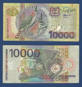SURINAME Bird Series 10,000 Gulden 2000, P-153, Circulated, Popular Note 10000