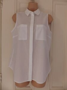 Boden size 12R white cotton sleeveless shirt with pockets on the chest, collar