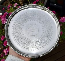 Victorian 1888 Solid Sterling Silver Tray/Footed Salver Tray by Elkington 19.8cm