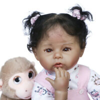"""20"""" Handmade Soft Touch Reborn Baby Doll in Black Skin African American Baby Toy"""