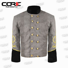Us Civil War CS Officer's Grey with Black 2 Braid Double Breast Shell Jacket