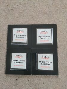 Black Ginger- Set of Four Glass Photo Coasters in black
