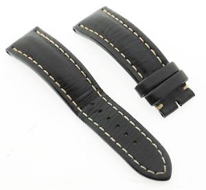 Genuine Breitling 435X 22mm Lug Black Calf Leather & White Stitching Watch Strap