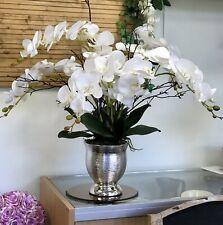 Artificial Flower Arrangement, White Phalaenopsis Orchid, Twig Display,SilverPot