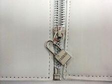 Dozen Designer Wide Style Women White Elastic Belt With Lock Zipper Size S M