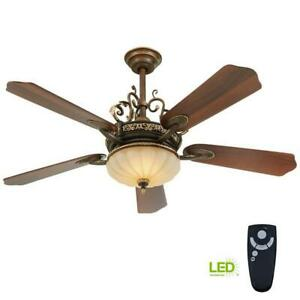 Walnut Ceiling Fan Light Kit Remote Control 52-Inch LED Indoor