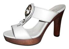 Gucci 1973 Saddle Leather Logo high heel platforms slip on Mystic White Sz 38.5