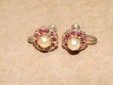 Vintage Sterling Silver Vermeil Faux Pearl Pink Rhinestone Flower Screw Earrings