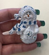 Vintage Large Costume Resin Christmas Holiday Snowman Pin YYB17