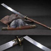 Kangxi Sword Chinese Emperor Broadsword Folded Steel Blade Long Rosewood Handle