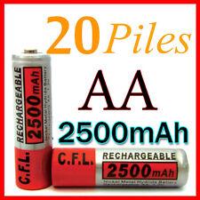 20 PILES ACCUS RECHARGEABLE AA NI-MH 2500mAh 1.2V LR06 MIGNON - DIRECT DE FRANCE