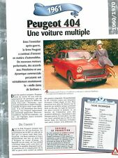 1961 PEUGEOT 404 PININFARINA FRANCE RETRO VINTAGE AUTO VOITURE CAR FICHE FRANCE