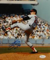 Jim Palmer Signed Baltimore Orioles 8x10 Pitching Photo W/ HOF- JSA W Auth *Blue