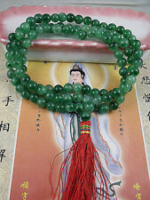 8mm Tibet Buddhism 108 Snowflakes Jade beads Mala Necklace