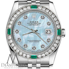Women's Rolex Watch 36mm Datejust Baby Blue MOP Dial with Emerald & Diamond