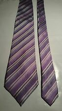 Simon Carter Vintage Silk Tie in Mauve with Blue and White Stripe